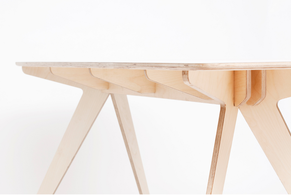 Narrow dining table by Jona Warbey