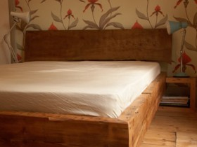 Chunky reclaimed bed with elm headboard
