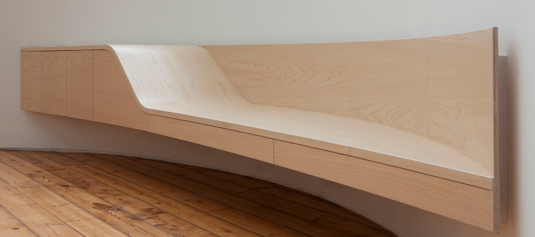 Ash and birch curved bench