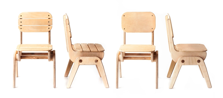 Kids' stackable wooden chairs